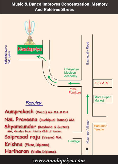 Naadapriya Dance and Music Institute Route Map